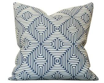 Schumacher Amazing Maze Indoor Outdoor Pillow Cover in Blue