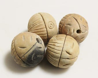 Big Bold African Clay Beads, Unique Ethnic Beads, Jewelry Making Supplies (AH233)