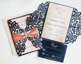 Blue embellished laser cut wedding invite set - Lasercut wedding invitation {Amaryllis design - Sku: AmaNad01}