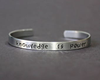 Knowledge is Power Bracelet, Teacher Gift, Education Quote, Graduation Jewelry, English Books Science Library