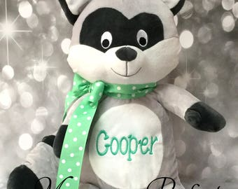 Jumbo Personalized Raccoon Stuffed Animal (Mint Green Polka Dot)