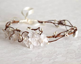 Flower crown, Wedding accessories, bridal headpiece, wedding flower crown, ivory Flower crown, rustic head wreath, wedding headband