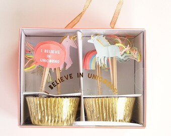 I Believe In Unicorns Cupcake Kit- 24 gold cupcake liners & 24 cupcake toppers