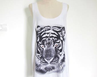 Tiger tank tiger t shirt men tank men tank top men T-Shirt animal Shirt workout tees graphic tees Tunic Screen Print Size XL