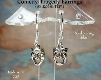 Sterling Silver Comedy-Tragedy Earrings, Drama Mask Earrings, Theater Jewelry, Theatre Earrings, Actor Charm Earrings, SE-2200-1