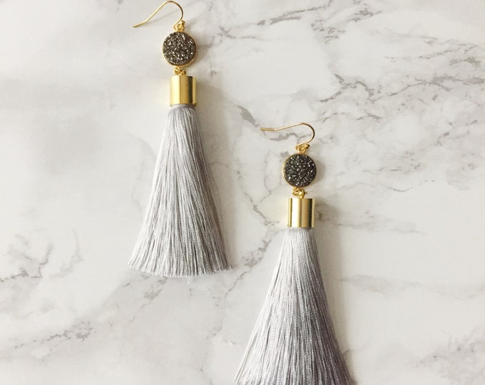 Gray Tassel Drop Earrings - Silver Druzy