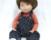 Vintage Floral Babycord Dungarees and TShirt for Sasha Baby Toddler  or Wichtel 32cm Dolls