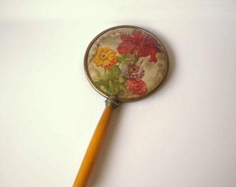 ON SALE Vintage Hand Mirror Butterscotch Celluloid handle Floral Motif