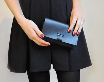 Black leather clutch, Simple box clutch