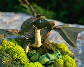 OOAK Funny Swamp Dragon, miniature poseable art toy with wire armature, fantasy dragon