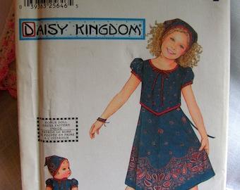"""DAISY KINGDM Handkerchief Dress Bandana & Bonus 18"""" Doll Matching Dress Child 3 4 5 6 Simplicity 7104 uncut factory folded sewing pattern"""