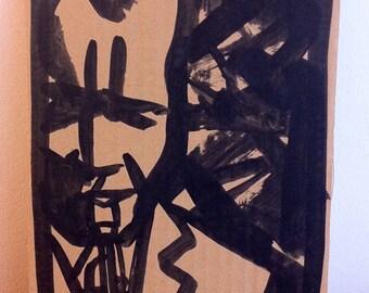 Dessin original, original artwork, portrait of jazz musician Steve Lacy sur carton/cardboard