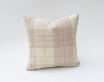 Gray Plaid With Coral-Pink And Off-White Decorative Pillow Cover