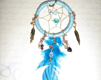 Dreamcatcher Keyring or Clip for car mirror-also great as a fan pull- by leatherwearableart