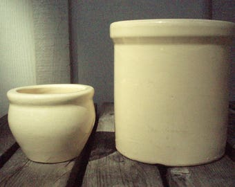 Antique Crockery Pot Pair; Small Rustic Old Earthenware Pottery Crocks Primitive Kitchen Garden Office Cottage Cabin Utilities Jar Crock Set