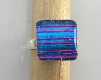 Blue Magenta Dichroic Glass Ring, Fused Glass Jewelry, Sterling Silver Adjustable Ring