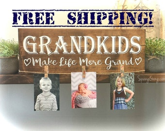Grandkids sign || Grandkids photo holder || Grandkids make life grand || Grandparents picture frame || Grandparent Photo Display