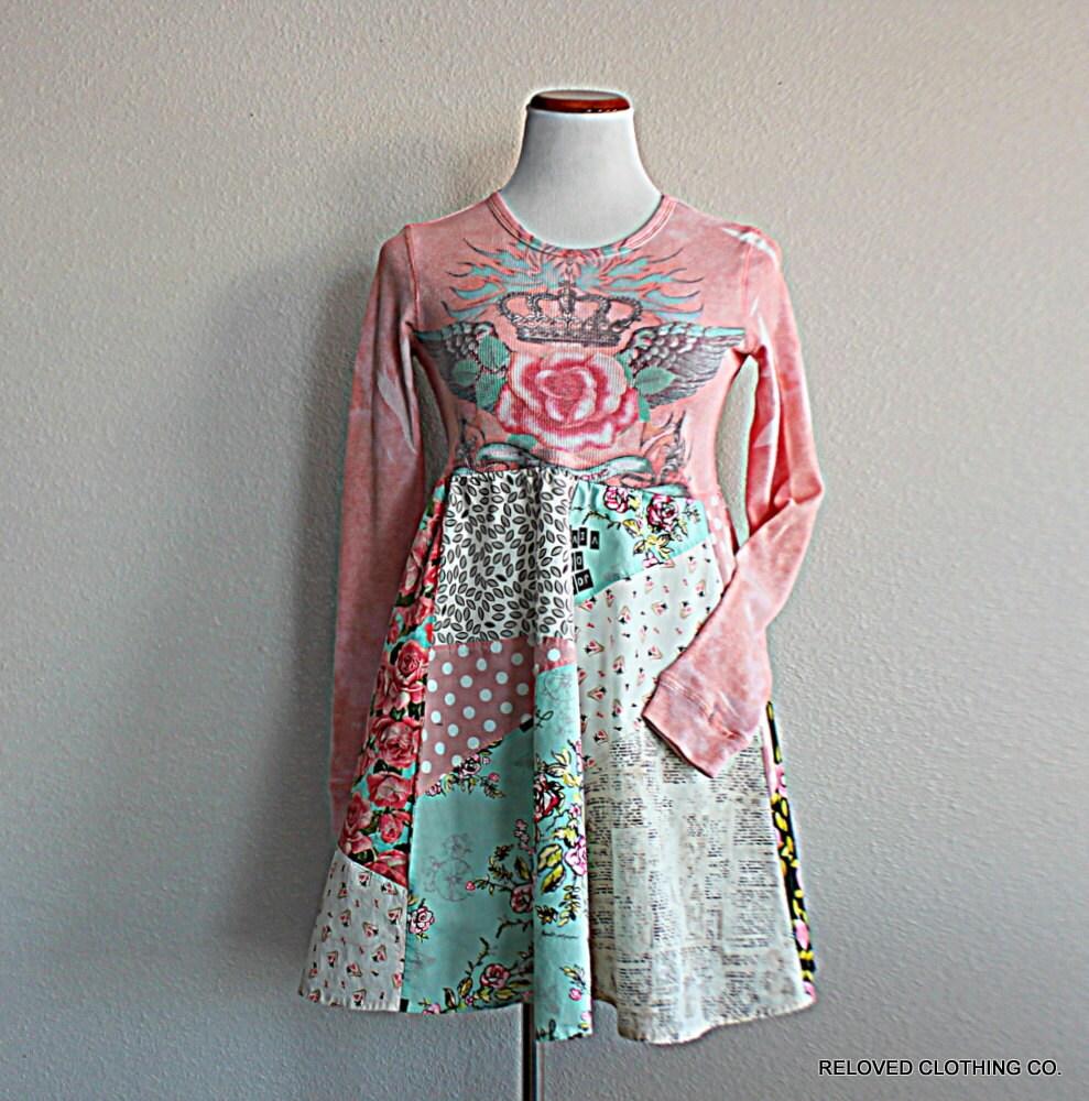 Upcycled Boho Patchwork Babydoll Tunic / Unique Funky Clothing