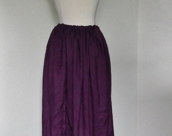 M, L, XL, Xxl Classic Cotton Skirt in Eggplant Purple