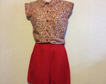 Bright Red Vintage 1950s/1960s Cotton Shorts by Carol Brent