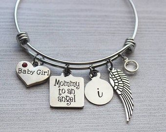 Mommy To An Angle Bracelet, Baby Memorial, Baby Loss Jewelry, Baby Loss Bracelet, Baby Memorial Gifts, Baby Sympathy Gifts, Baby Sympathy