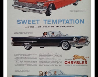 1959 Chrysler 300-E, Windsor, & New Yorker ALL convertibles Red Black and Blue and Spectacular.  Kid with a pet GOOSE!  Man cave -Fins