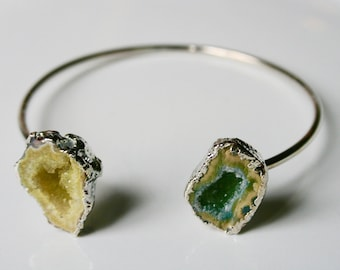 Silver Dipped Raw Agate Druzy Raw Stone Bracelet Bangle - yellow and green