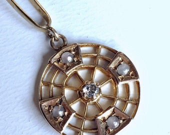Vintage Art Deco spiderweb diamond and pearls geometric lavalier pendant 14k gold
