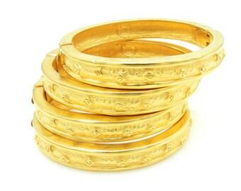 Givenchy Hinged Bangle Bracelets - Gold Tone Vintage Cuff - Set of 4 - Signed - Designer Jewelry # 4374