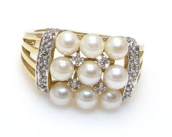 14K Yellow Gold Pearl and Diamond Ring - Size 8 - Cocktail Ring - Weight 4.8 Grams - 9 Pearls Ring - Multiple Pearl Ring # 4083