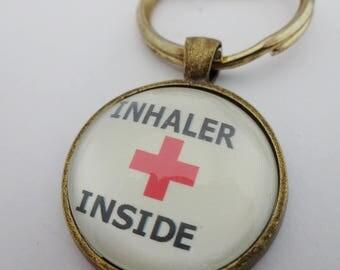 Medical alert, medical jewelry, inhaler inside, asthma jewelry, asthma warning,inhaler bag tag,inhaler case,sos, ICE,keyring,first aid