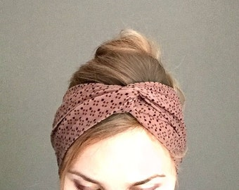 Turban headband brown twist headwrap , no slip jersey turband , fashion hair accessory gift for women under 20 , rust color adult headband