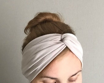 Turban Headband , Light Grey Head Band , Jersey Hair Band, Hair Wrap with Twisted Center