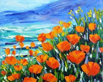 "Orange Poppy Sea Ocean Flower Field Original Oil Painting Palette Knife Impasto Small Landscape on 8x8"" Canvas Ready to Hang"