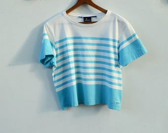 Light Blue & White Striped Crop Top Tee by LizSport 1990s style