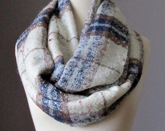 Plaid infinity scarf, check scarf, tan and off white scarf , light autumn scarf
