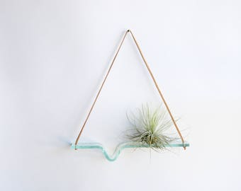 Medium - Clear Recycled Glass Airplant Swing with Leather Cord for Hanging - plant wall hanging - glass shelf