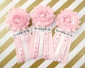 Pink Baby Shower Corsage Pin with Mommy to Be, Grandma to Be, and other Custom Tags for Its a Girl Baby Shower