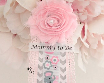 Pink Gray Elephant Corsage Mommy to Be Corsage Grandma to Be Corsage Pin Badge Ribbon