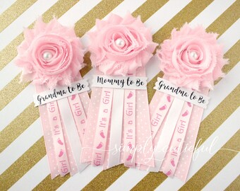 Pink Baby Shower Corsage Pin, Mommy to Be, Grandma to Be Set, Pin Clip Flower Corsage, Its a Girl Baby Shower