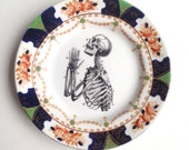 Vintage Anatomical Skeleton Praying Hands Plate Altered Art gothic