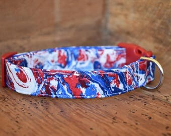 Patriotic Dog Collar - Red and Blue Swirl