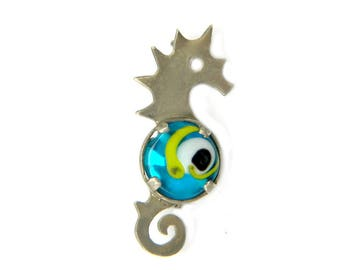 Sterling Seahorse Brooch Mod Retro Glass Antique C Catch Nautical Marine Life Jewelry Gift Idea For Women Sterling 925 Blue Green Swirl