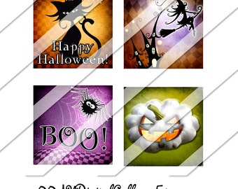 Halloween Digital Collage Sheet, Witch, Cat, Ghost, Instant Download, One Inch Square, Digital Collage, Downloadable, Digital Image, Collage