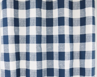 Navy plaid curtains | Etsy