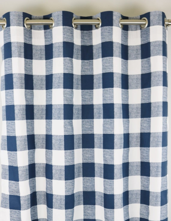 Navy White Buffalo Check Curtains Cabana Grommet Top 84 96
