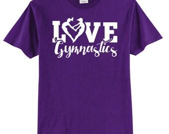Love Gymnastics Heart Shirt Gymnast T Shirt White Ink