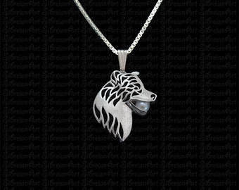 3D Border Collie profile holding a pearl - sterling silver pendant and necklace.