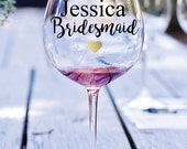 Vinyl Decal, Bridesmaid Decal, Bridesmaid Wine Glass Decal, Wedding Decal, Wine Glass Decal, Wedding Wine Glass Decal, Bridal Party Favor
