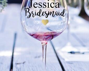 Vinyl Decal, Bridesmaid Decal, Bridesmaid Wine Glass Decal, Wedding Decal, Wine Glass Decal, Wedding Wine Glass Decal, Bridal Party Favor